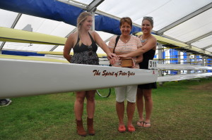 Joanne, Aly and Lizzie Christening our chariot—The Peter Yates.